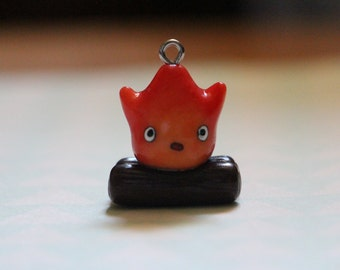 Howl's Moving Castle Calcifer Phone Charm, Polymer Clay Jewelry