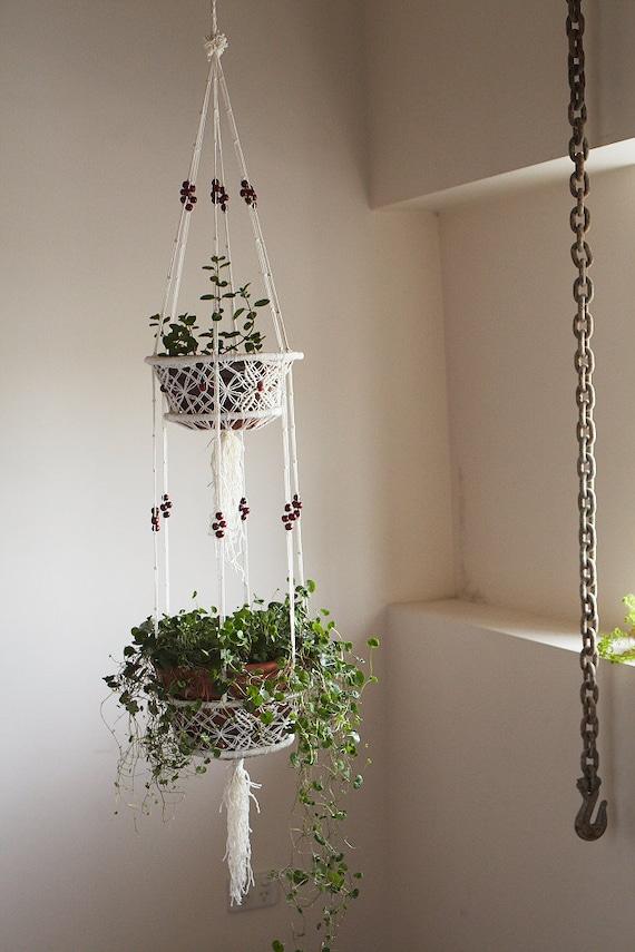 Plante Panier Suspendu : Macram? comme plante en pot suspendu panier avec perle rouge