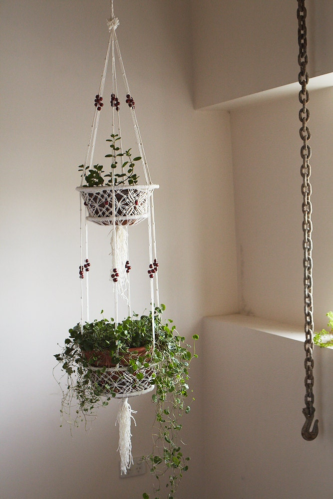 macrame hanging basket macrame pot plant hanging basket with bead 2286
