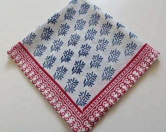 Vegetable dyed hand Block printed soft voile Napkin table linen soft organic voile cotton napkin red& blue voile napkin eco friendlay napkin