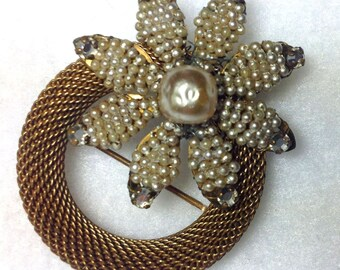 Miriam Haskell Simulated Seed & Baroque Pearl Brooch Pin