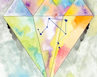 Libra---> Watercolor Art, Archival Print, Air Sign, Zodiac, Constellation, Astrology, Stars, Diamond, Scales, Balance, Geometry, Rhombus