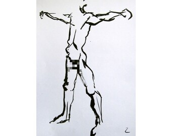 Outstretch (February 2014), original ink painting of nude male model life drawing mature