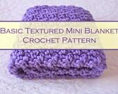 "Beginner Easy Crochet Pattern #2 - Basic Textured Mini Blanket - Finished Size 20"" x 20"" - Instant Download"