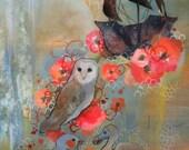 Owl, zebra finch, dodo print.   Red floral illustration by Kendra Binney
