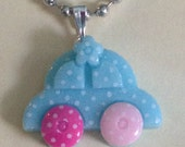 Blue Punch Buggy Car Necklace Pink Wheels FREE USA SHIP