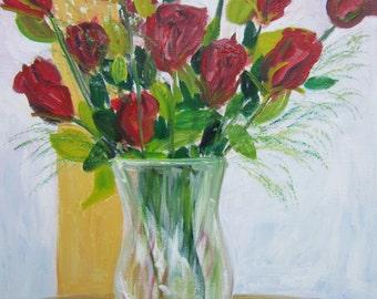 A Dozen Roses - Original oil painting by Marita McVeigh