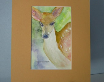 Original matted watercolor painting of a Fawn.