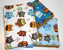 Padded Zippered Pouches Kawaii Cutie Hootie Owls-- 3 Pack Promo (Coin Purse/Cosmetic Case/Small Wallet)
