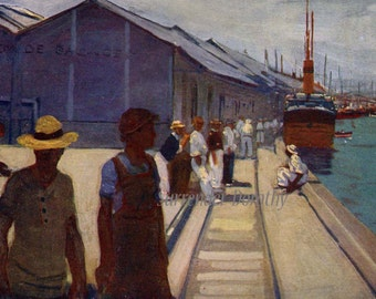 Dock Workers At Santos A S Forrest 1910 Original Vintage Edwardian Watercolor Lithograph To Frame