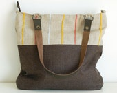 Linen / wool shoulder bag with embroidered pastel stripes - Mosaic Collection