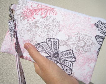 SALE WEDDING CLUTCH, gift pouch, 2 pockets, bridesmaids, flower girl, gift - Love lace bloom