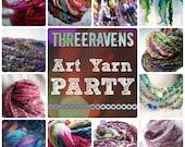 Handspun Yarn Club - Threeravens ART YARN PARTY - 3 months of unique handspun yarn