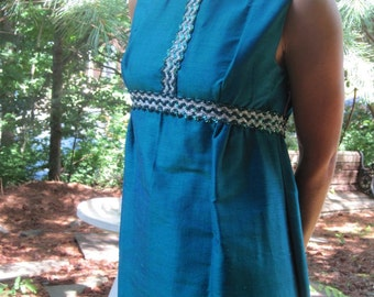 Vintage Teal Silk Empire Gown
