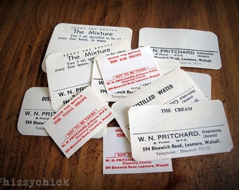 12 Vintage Pharmacy Labels