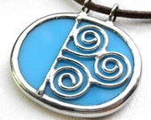 Spiral - oval stained glass pendant (613)
