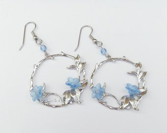 Delicate Floral Earrings, Pale Blue Trumpet Vine Flowers on Tree Branch Pendant Earrings, circle w flowers, silvertone hanging hoop twig