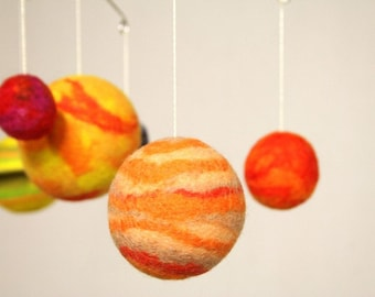 Solar System Mobile - Hanging Planets - Eco Friendly - Natural Felted Wool - Baby mobile - Child Mobile