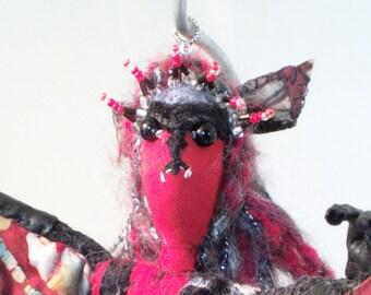 Soft Sculpture Art Doll Bat Woman Matilda