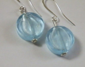 oval icy blue earrings