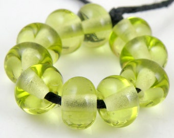 Transparent Pale Green Apple Spacers - Handmade Artisan Lampwork Glass Spacer Beads 5mmx9mm - SRA (Set of 10 Spacer Beads)
