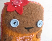 tiny embroidered folk art rag doll Bear