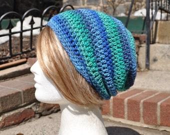 Slouchy Beanie Crocheted Hat - Multicolored Skullcap - Unisex Hat, Man's Hat - Blue and Green Slouch hat - Woman's Hat