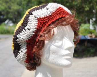 Multicolored Ripple Crochet Hat - Lightweight Beret - Chevron Hat