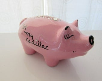 60s Pink Piggy Bank - Esther Pig Vintage Toy Collectible - For My Cadillac - Ceramic Piggie Bank - Cork Stopper - Coin Savings - Collectible
