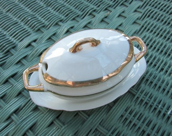 Child's Porcelain Tureen or Covered Casserole Gold Edge Porcelaine Empire