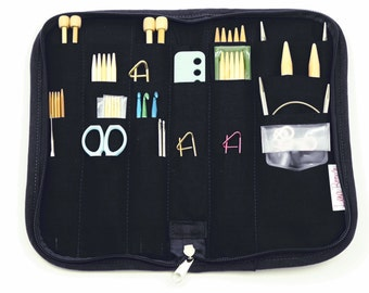 Travel Zip Around Knitting Needle Case Organizer - choose your fabric - 24 pockets clear see-thru notions zipper pouch