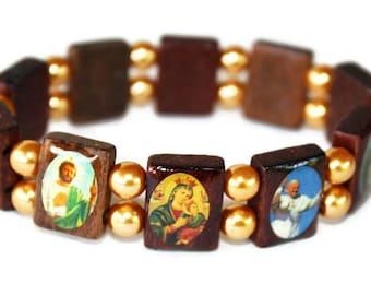 Wooden Saints Catholic Charm Bracelet with Beads