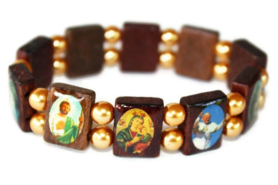 catholic saints bracelet wooden saints catholic charm bracelet with 7435