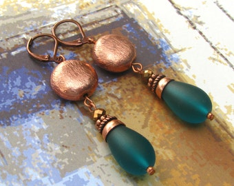 Brushed Copper Puffed Discs with Dangling Teal Matte Glass Teardrops Earrings
