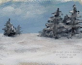 Below Zero, Winter, Landscape, Cold Season, Snow, Trees, Freezing, Polar Vortex,  Original Art, Home Decor, Art, Gift, Landscape Painting, - winjimir