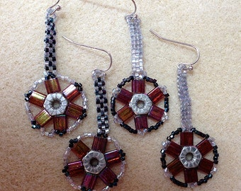 Custom Earrings: Delightful, quirky, steampunk-inspired, featuring #6 hex nuts surrounded by Tila beads and seed beads