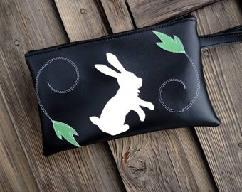 SALE Bunny and Leaves Black  Vinyl  Wristlet