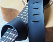Midnight Blue Leather Guitar Strap