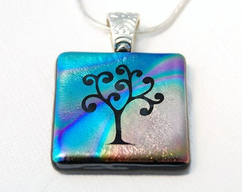 Tree of Life, Dichroic Glass Pendant, Etched Glass, Fused Glass Pendant, Tree Silhouette, Etched Dichroic