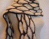 Ivory and Chocolate Brown Scarf, Chunky Wave Pattern