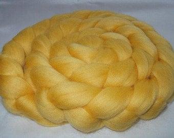 LEMON, merino wool roving, 20 micron, doll hair, dolls hair, merino roving, roving for felting, nuno felting wool,  3.5oz, 100g, 100% wool