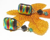 Reserved Listing for Paula - Multi Colored Dichroic Link Stud Earrings