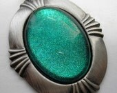 Ready To Ship Today! SALE - Turquoise Sparkle in Art Deco Setting - Glass Pendant made with Nail Polish