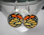 Monarch Wing - 12mm Earrings - Choice of Studs or Dangles and Choice of Silver or Antique Gold