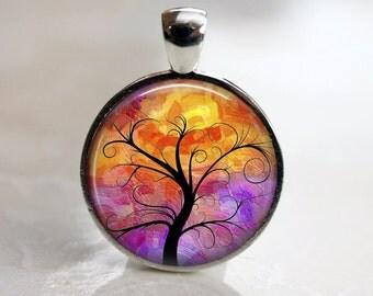 Fiery Tree of Life - Pendant, Necklace or Key Chain - 1 Inch Round - Choice of 4 Colors