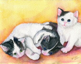 Cat painting, Kittens Original watercolor painting, Kitty Cat Wall Art, home decor. Black, white Cats original, cat art