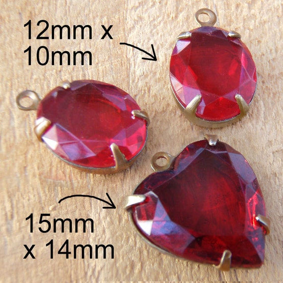 red vintage glass heart beads