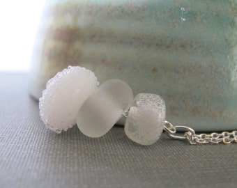 Silver Necklace, Glass Necklace, Winter White, White Sugar, Frosted White, Silver Chain, Lampwork Glass, Silver Jewelry