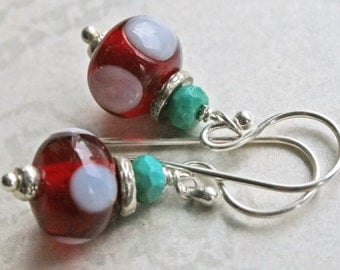RUBY RED Lampwork and Sterling Silver Earrings