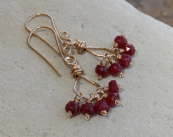 RUBY earrings, July birthstone, July birthday, Ruby Cluster earrings, 14k gold filled